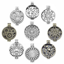 Antique Silver Vintage Bronze Hollow Photo Locket Aromatherapy Essential Oil Diffuser Necklace Locket Pendant For DIY Necklace(China)