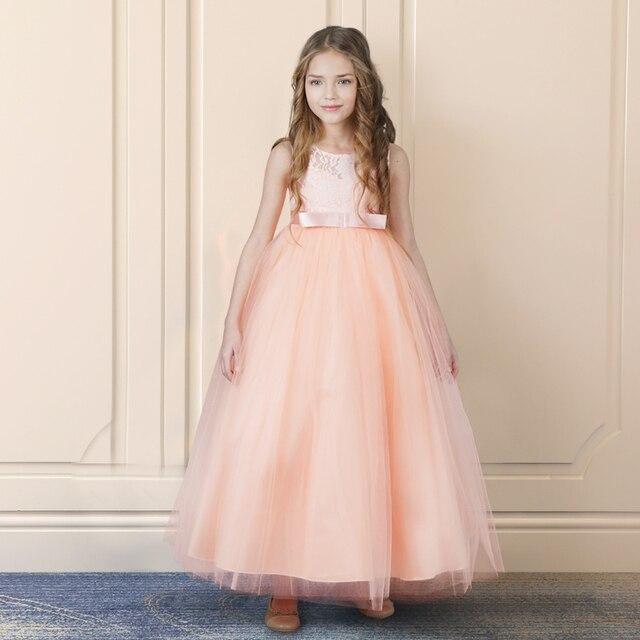 47a3ba3f2 € 7.54 10% de DESCUENTO|Niños princesa flor niña vestido verano tutú boda  Vestido largo Formal vestidos de fiesta de cumpleaños para niñas ...