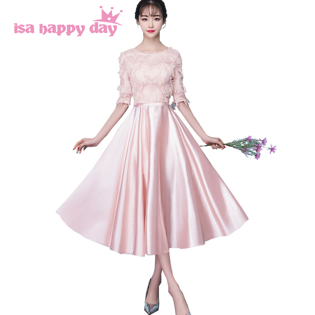 light pink tea length dresses new fashion 2018 corset bridesmaid robes lace  dress bridemaids gowns patterns for teens H4215 53881a6186e8