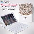 Para ipad mini4 tablet case cubierta de cuero delgado con bluetooth teclado 3d alivio pintura protectora estuches para ipad mini 4