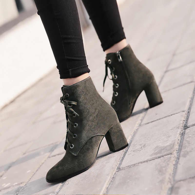 Donna-in kadınlar botları doğal süet deri kalın yüksek topuk dantel-up martin çizmeler hakiki deri ayakkabı kare ayak yarım çizmeler