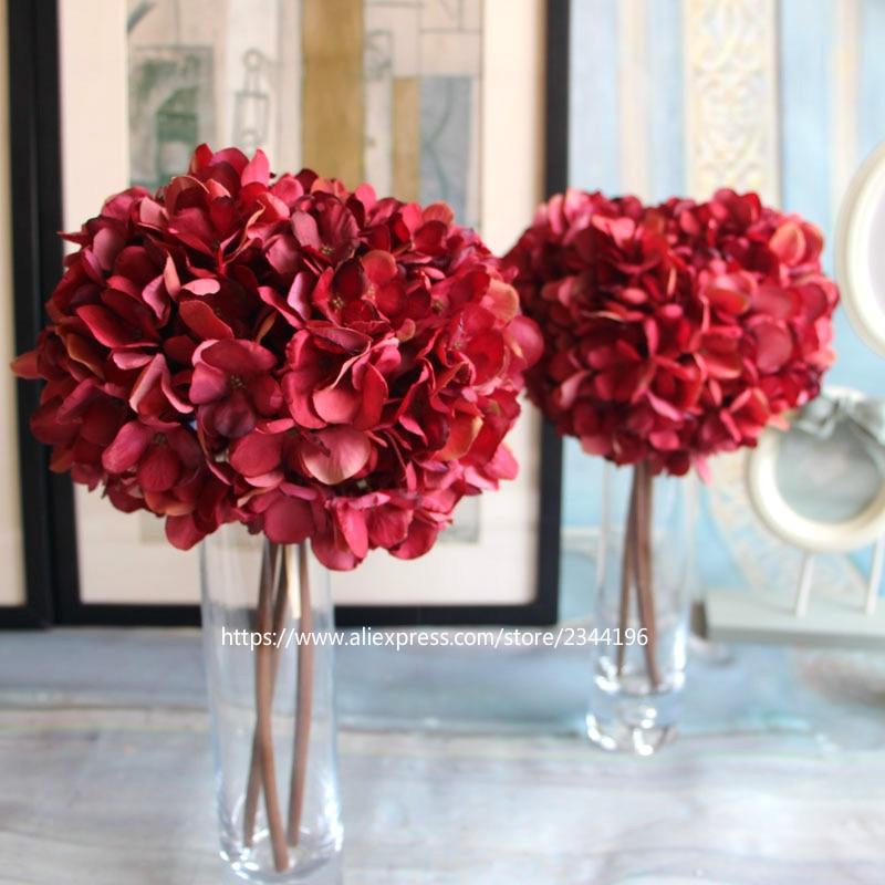 3pcs large hydrangea sethome wedding decorationtable 3pcs large hydrangea sethome wedding decorationtable centerpieces flower arrangementbaby pink dark red green mightylinksfo