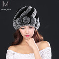 New Russia winter fur hat Rabbit Fur Women Warm fashion Lady Beanie Hat Handmade knitted hat headwear gorro Caps girls fur cap