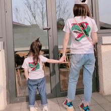 Adult*1pc+Kid*1pc New Dinosaur Black White T-Shirts Family Matching Clothes Short Sleeve Tops Father Mother Cotton Shirt S-XXXL 1pc new 6es7321 1bh02 0aa0