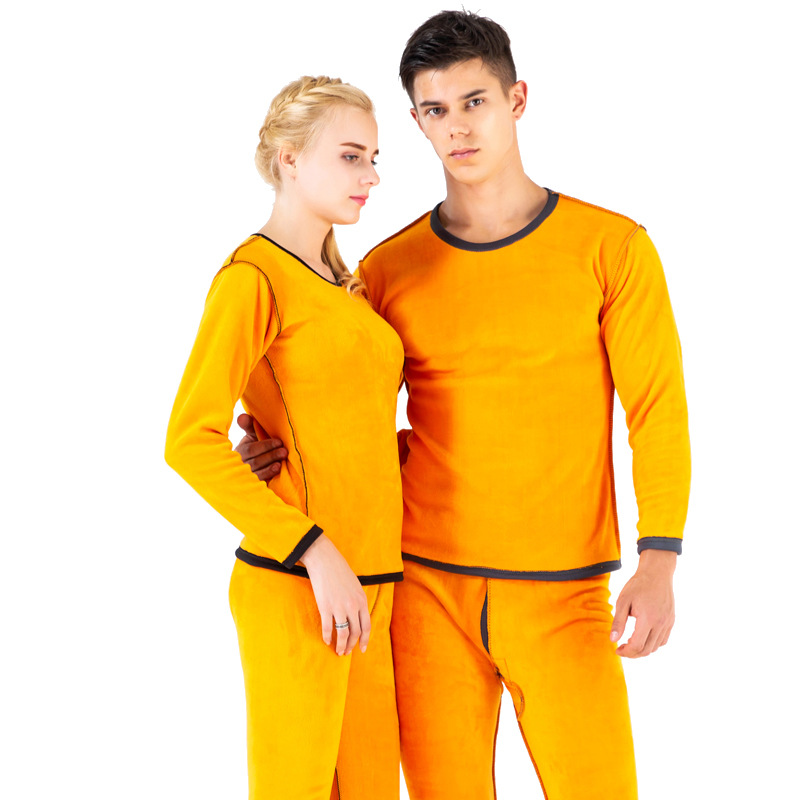 Winter Warm Thermal Underwear Sets For Couples Thick Plus Velvet Long Johns Men Womens Clothes L-XXXL Pant And Top Thermal Suit