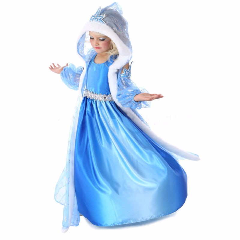 Robes Filles Eté 2016 Girl Dress Vêtements pour enfants Anna Blue Movie Dress + Cap Rouge Robes Princesse Costumes Cosplay