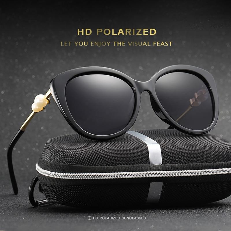 2017 divatmárka polarizált macska szemüveg napszemüveg női designer luxus gyöngy napszemüveg női ötvözetű lábak szemüveg Feminino Új