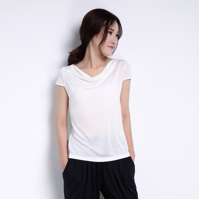 Female Summer Plus Size Silk Tops Woman Spring short sleeve Hedging Silk Tees Lady Oversized Solid Stretch Slim Shirts