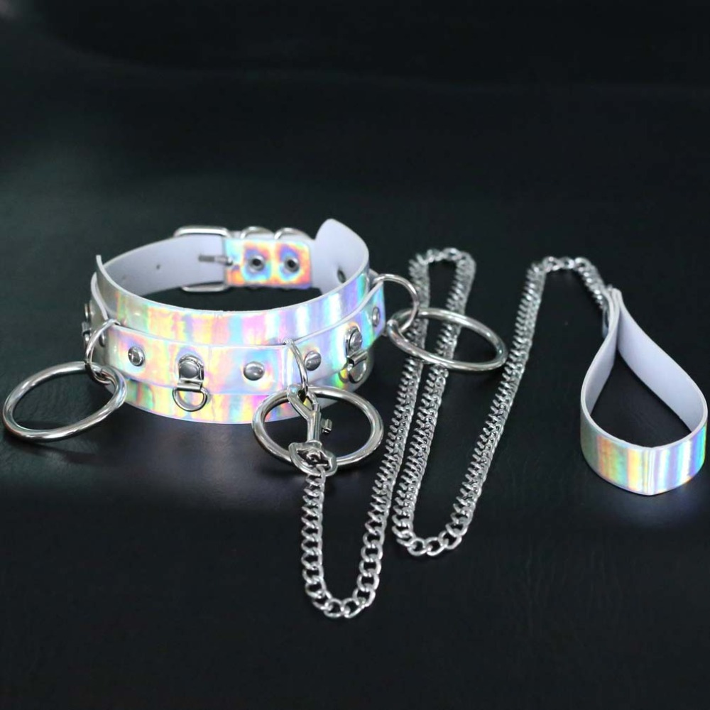 Holographic Choker <font><b>Sexy</b></font> Punk Rainbow Leather Collar With Chain Leash Party <font><b>Harajuku</b></font> <font><b>Kawaii</b></font> Emo Rave Festival Costume Jewelry image