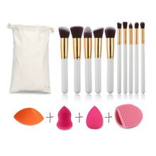 10pcs profesional cosmetic makeup brush +3pcs sponge puff+wash egg cleaner kit blending oval set powder trucco naked beauty tool