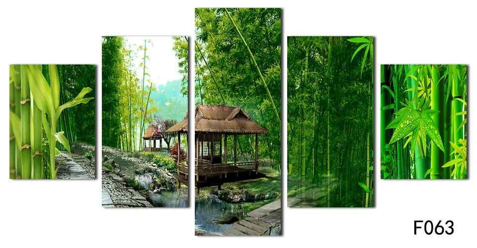 Новая горячая печать маслом картины бамбуковый пейзаж Картина Холст Красивая настенная живопись картины для гостиной Декор без рамы
