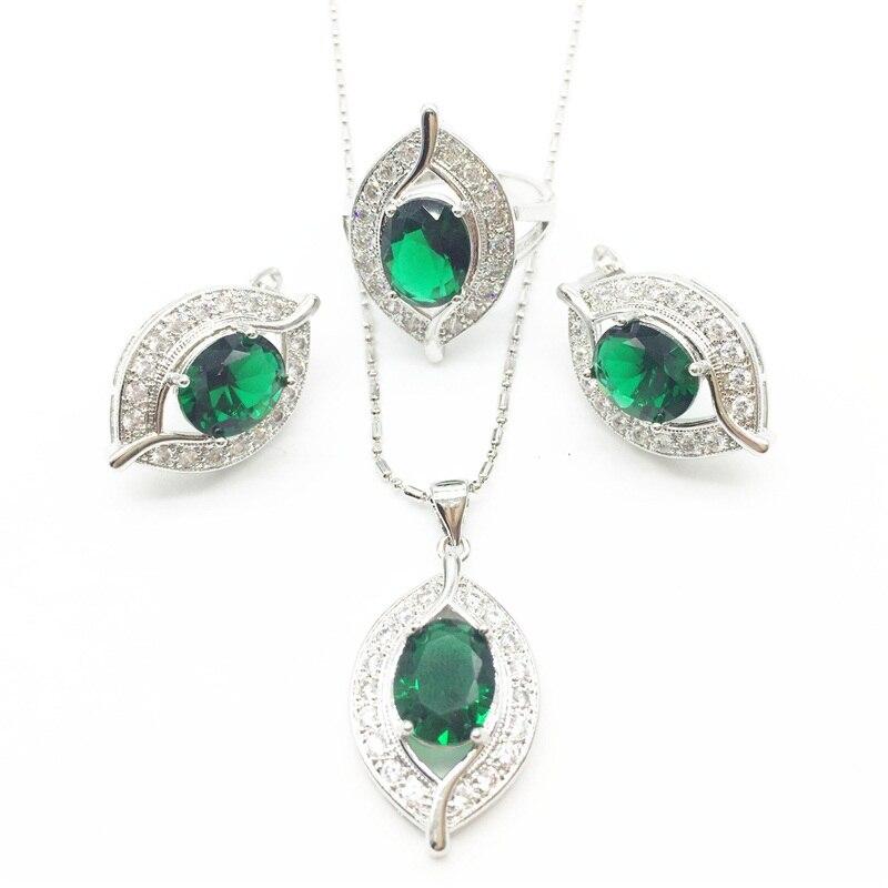 925 серебряные Цепочки и ожерелья подвеска Серьги Кольца натуральный зеленый белый циркон Ювелирные наборы для Для женщин Бесплатная доставка