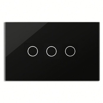 Bseed 240v Touch Switch 3 Gang 1 Way Wall Switch With Glass Panel Black Light Switch Us Au Eu Uk smart home black touch switch crystal glass panel 3 gang 1 way us au light touch screen switch ac110 250v wall touch switches
