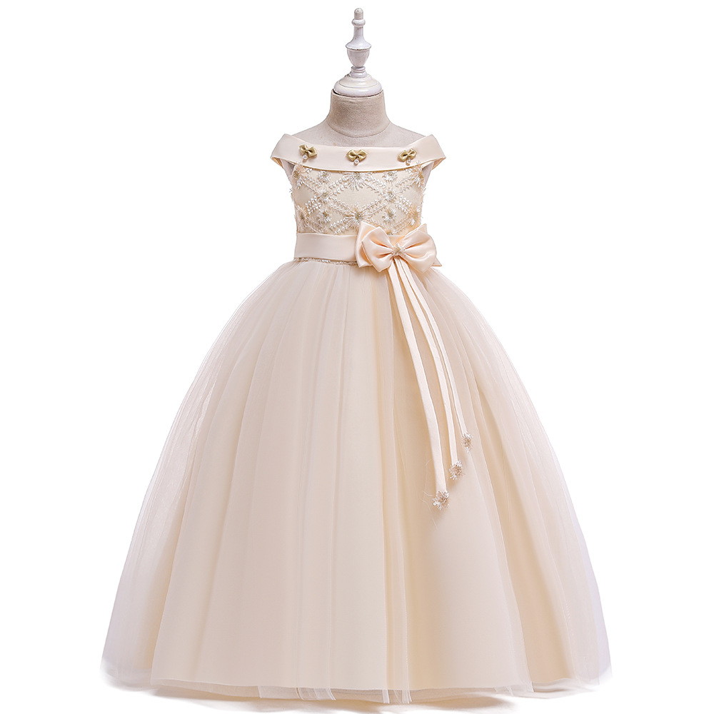 High Quality Princess 2020 Girls Pageant Dresses Champagne Tulle Off The Shoulder Flower Girls Dresses For Wedding