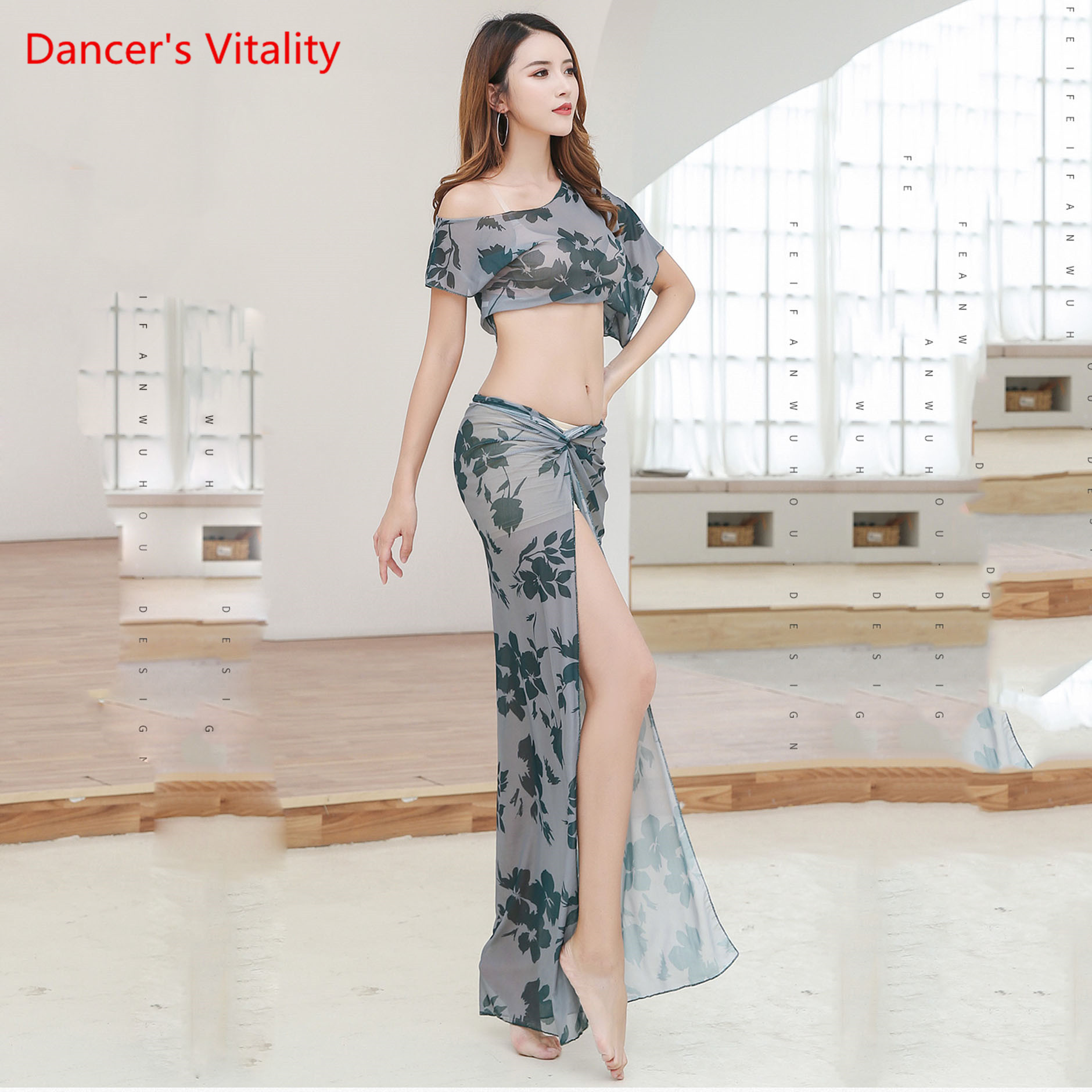 Mesh Vest Top+Slit Long Pants+Sequins Hip Scarf 3 pcs set Belly Dance Costumes
