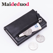 Maideduod Fashion Smart card holder  Leather Coin Purses Magnetic Closing Card case Casual Men wallet RFID Blocking Wallet