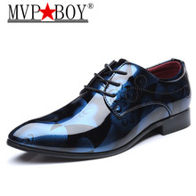 MVP BOY Men Dress Shoes Floral Pattern Formal Leather Luxury Fashion Groom Wedding Oxford 38-44