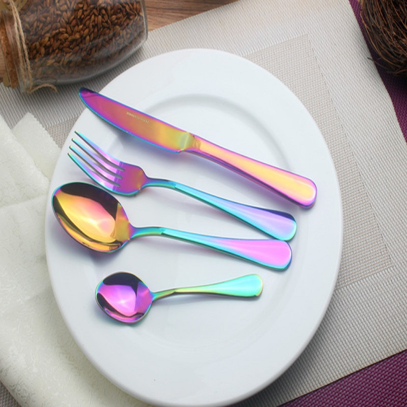 Color Series Of Dishes Professional Stainless Food Tool Knife Tea Fork Dinner Dinnerware Fork Western Tableware Lunch Cutlery-in Dinnerware Sets from Home ... & Color Series Of Dishes Professional Stainless Food Tool Knife Tea ...