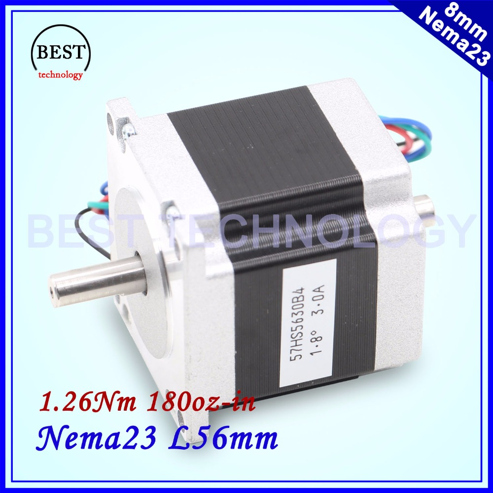 цена на Nema23 Dual Shaft CNC Stepper motor 57x56 NEMA 23 stepper motor D=8mm 3A 1.26N.m double shaft stepping motor 180Oz-in