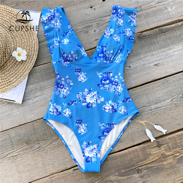 CUPSHE Elegant Blue Floral Print One Piece Swimsuit Women V neck Ruffle Monokini Beach Bathing Suits 2020 Girl Sexy Swimwear