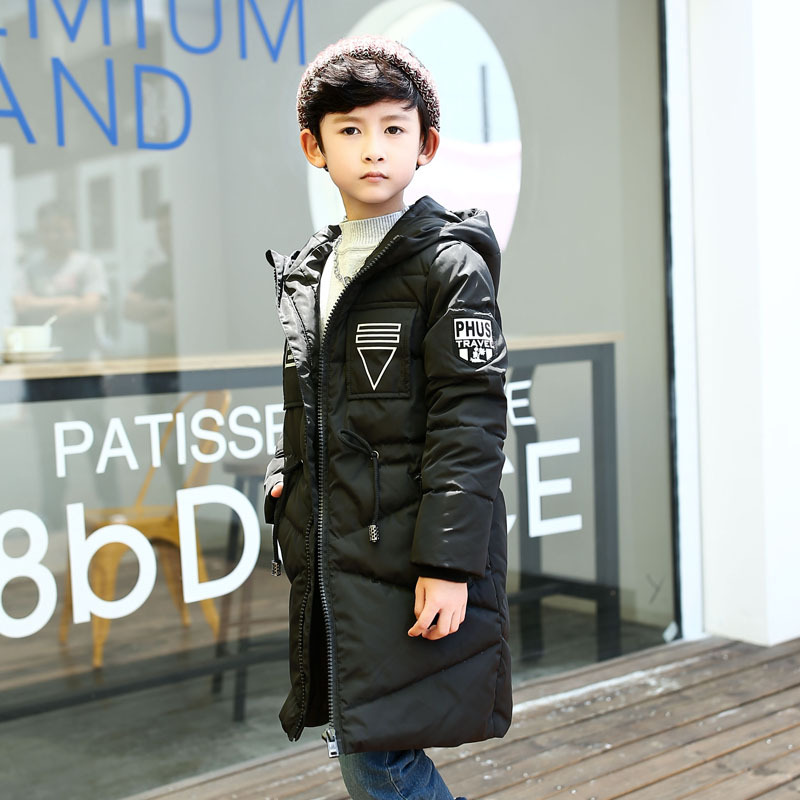 New Children's Down Jacket Winter Boys Long White Duck Down Parkas Children's Hooded Thick Coat Outwearas Kids Jacket CLothing 2015 new winter thick down jacket women black and white patchwork color plus size coat white duck down 90% down jacket ae396