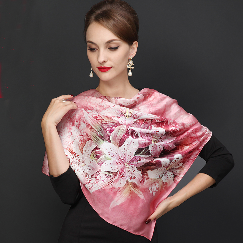 Ladies Pink   Scarves     Wraps   New Lily Large Square Women Silk   Scarf   Cape 110*110cm High Top Autumn Winter Female Silk Neck   Scarf