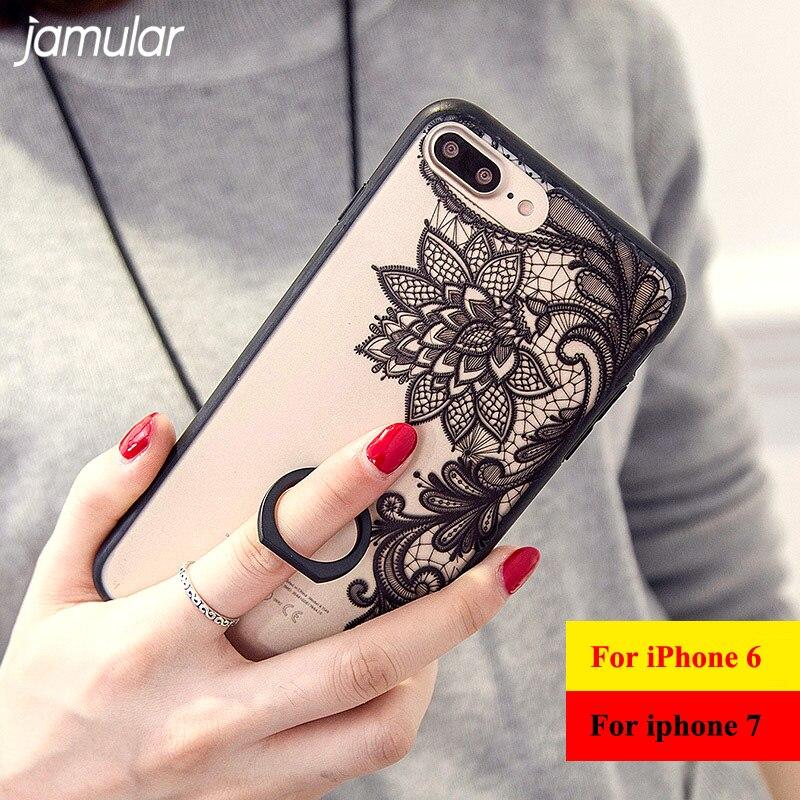 Jamular Хрустальный цветок чехол для телефона для iphone 8 7 6 6S плюс кольцо держатель ясно Пластик жесткий чехол для Iphone 6S 7 Plus Чехол