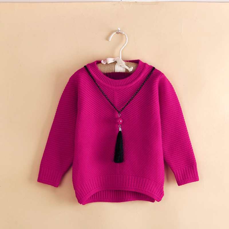 Cotton Girls Sweaters Solid O Neck Top Long Sleeve Clothes Pullover Knit Outerwear Autumn Winter Kids Sweater Children Clothing (3)