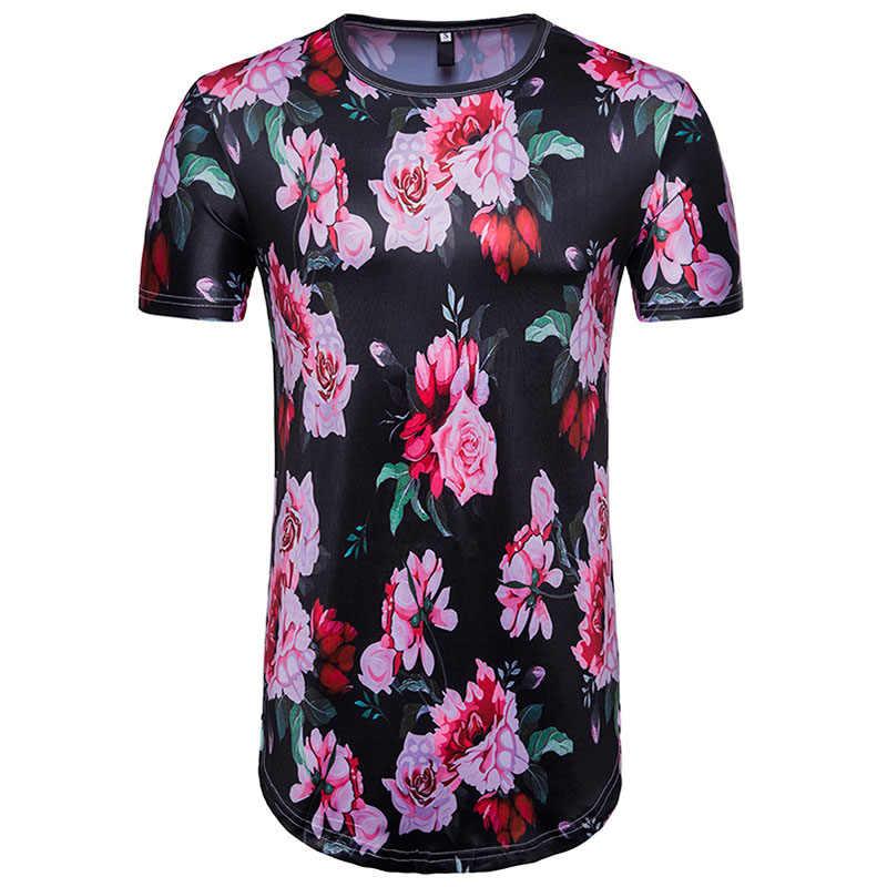 Мужская хипстер хип-хоп с цветочным принтом удлиненная футболка 2018 Лето с коротким рукавом Экстра длинная футболка Повседневная Марка Футболка с цветами