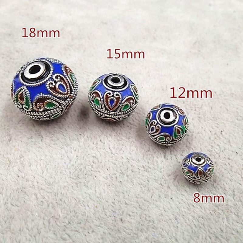 Cloisonne Beads Metal beads Enamel Necklace Spacer Decoration Charm 6mm 20pcs