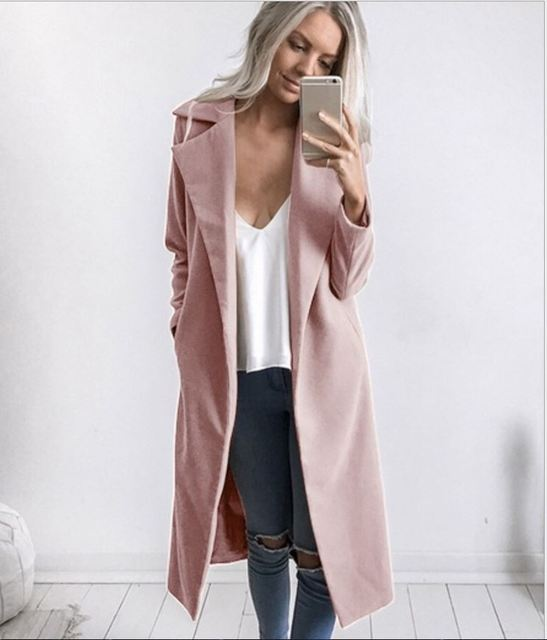 2018 new fashion Women Winter Warm Wool Lapel long Trench Coat female stylish solid Long Slim Overcoats Outwears clothes