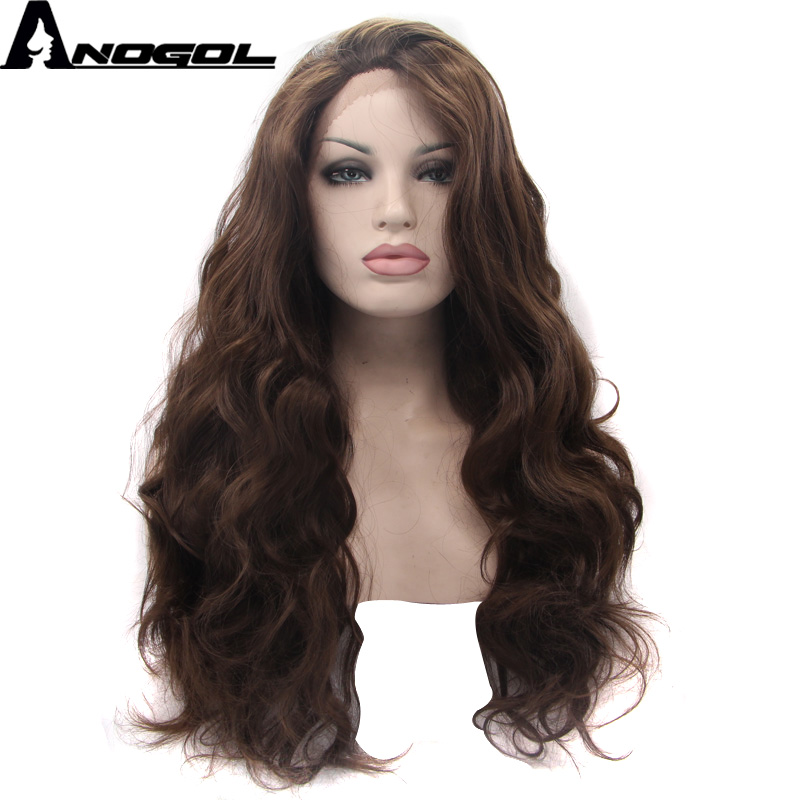 Anogol Lace Front Wig Natural Look Dark Coffee Body Wave Glueless Synthetic Heat Resistant Fiber Long Fully Hair Wigs For Women