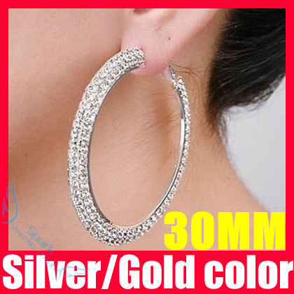 (52% off on wholesale) 30mm Double Rows Basketball Wives Rhinestone Hoop Earrings Crystal Cubic Zirconia Hoop Earrings F1