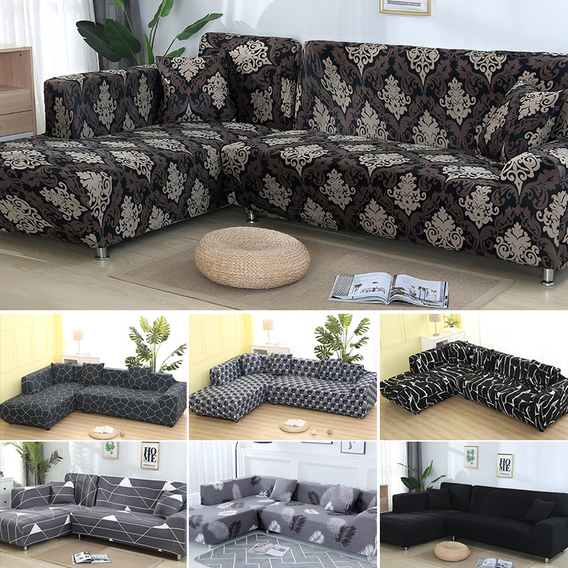 2 Pcs Couch Covers for Corner L Shaped Sofa with Elastic and Straps for Living Room 2