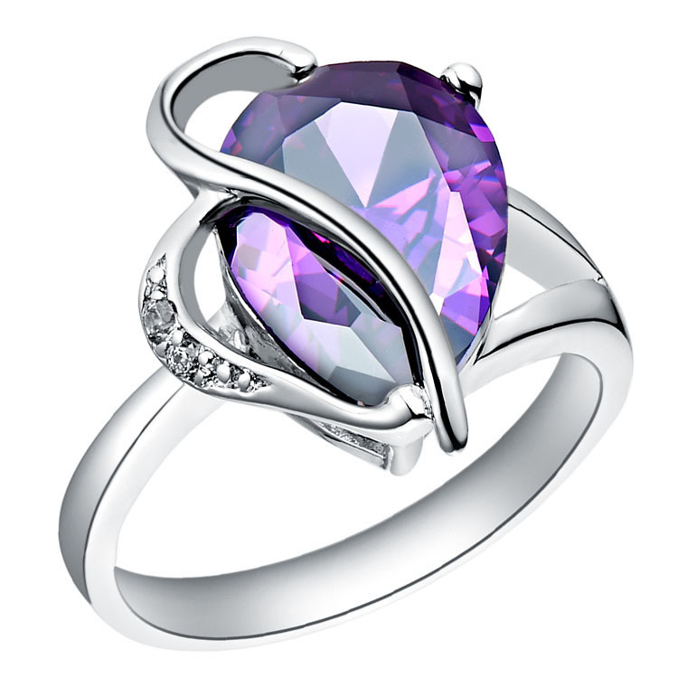 wedding purple heart crystal ring for women 18 k platinum plated full size 6 7 8 9 romantic jewelry wholesale in rings from jewelry accessories on - Purple Wedding Ring
