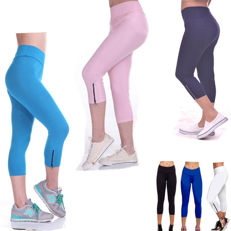 spring and autumn fashion sportwear fluorescent high thin waisted sportwear trousers fitness zipper disco pants leggings
