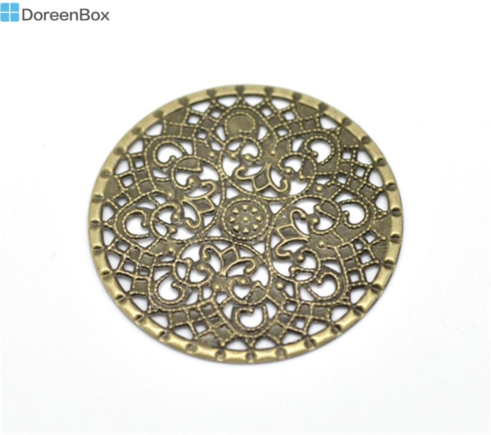 Дорин коробка Прекрасный Античная бронзовая филигрань Круглые Обертывания Инструменты для наращивания волос 4.1 см (1-5/8 «), продается за лот 50 (b16292)