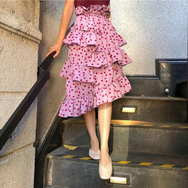 В горошек с оборками Обёрточная бумага Асимметричная юбка Для женщин эластичные Высокая Талия пляжная юбка 2018 Летняя мода уличная Длинная Юбка Femme