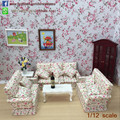 1/12 Scale Dollhouse Wooden Sofa Set/4 Miniature Furniture Sets Miniature Modern Living Room Set