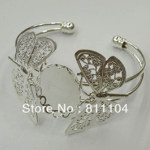 18x25mm Silver Plated Brass Oval Lace Bezel Tray Cabochon Blank Bangle Bases Double Butterfly Open Cuff