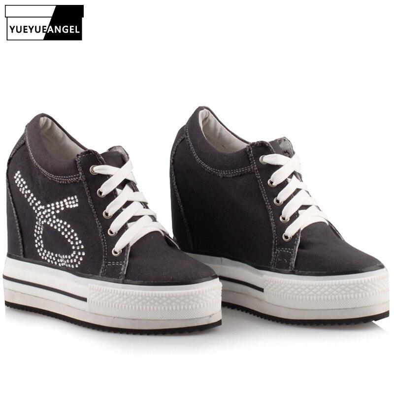 Chaussures toile compensée femme chaussures à lacets Style Preppy cristal Chunky baskets grande taille mode rose noir chaussures de loisir blanches femme