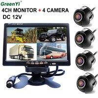 GreenYi Автомобильная камера заднего вида передняя/задняя/левая/Righ 7 4 Сплит Quad TFT ЖК дисплей DC 12 В автомобиль заднего вида подголовник монитор