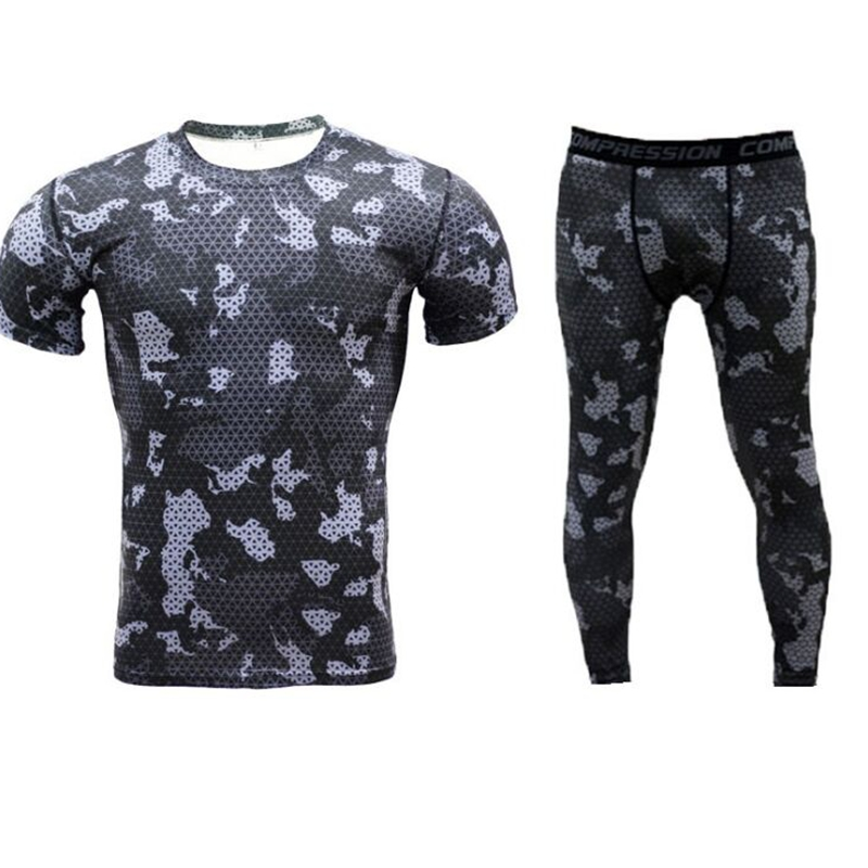 Men Crossfit Compression Shirt Rashgard Union Suit 2018 Mens Short Sleeve T-Shirt tights ...