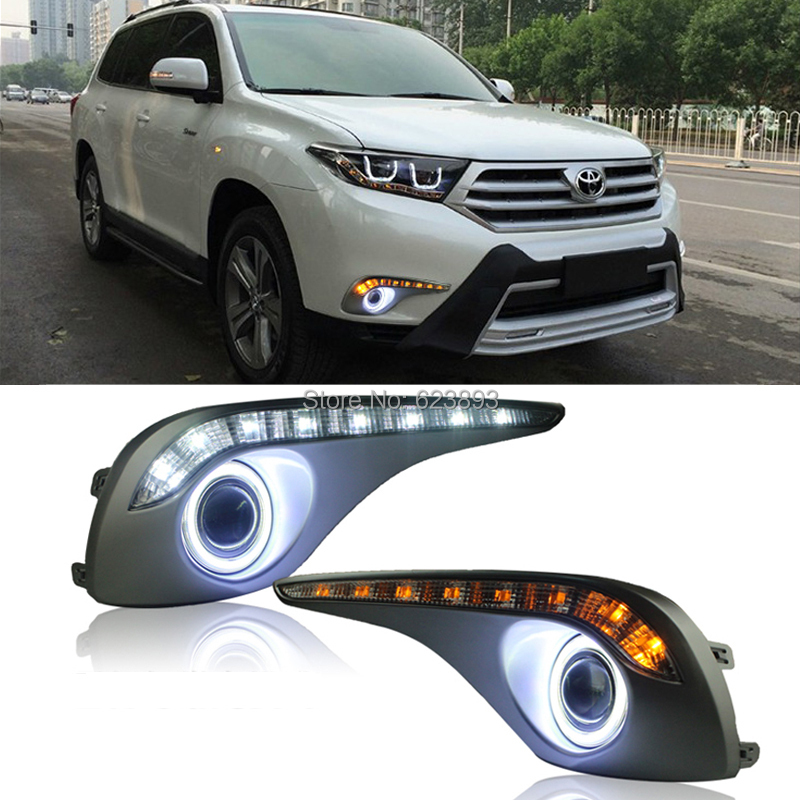 2x Led Drl Daytime Running Lights With Yellow Steering Projector Lens Fog Angel Eyes Kit For Toyota Highlander 2017 In Car Light Embly From