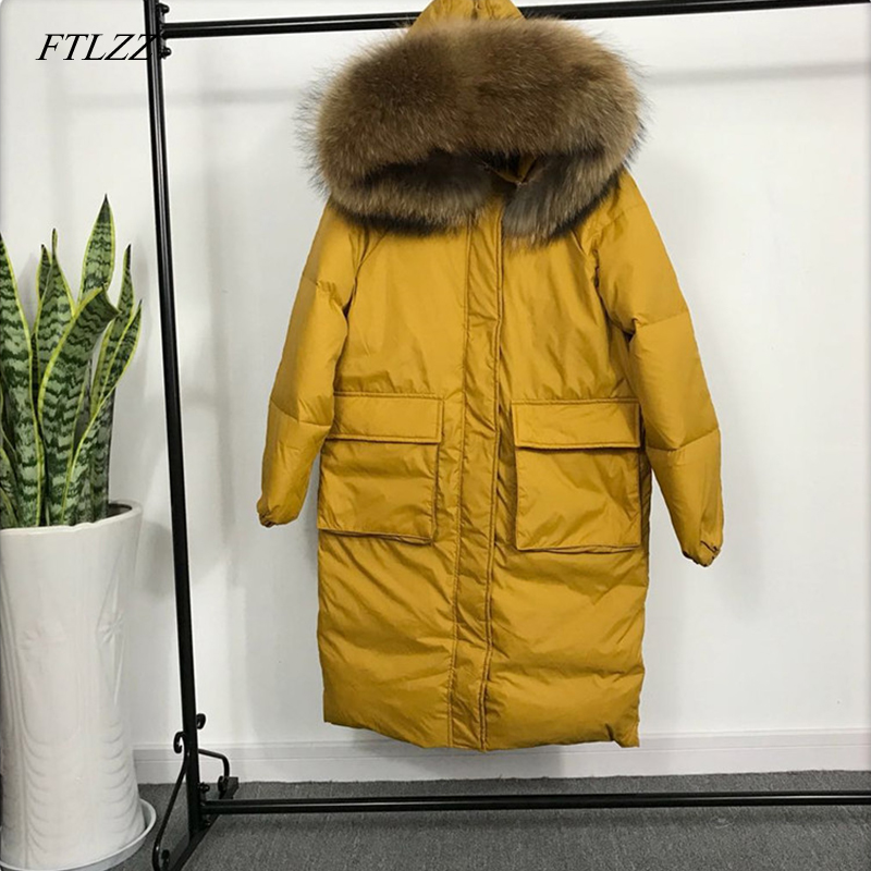 FTLZZ Winter Jackets Women Casual White Duck Down Big Hair Collar Parkas Big Pocket Design Medium Long Overknee Snow Outwear