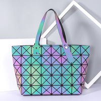 Folding fashion handbag ling lattice single shoulder bag, Japan and South Korea leisure environmental protection bags