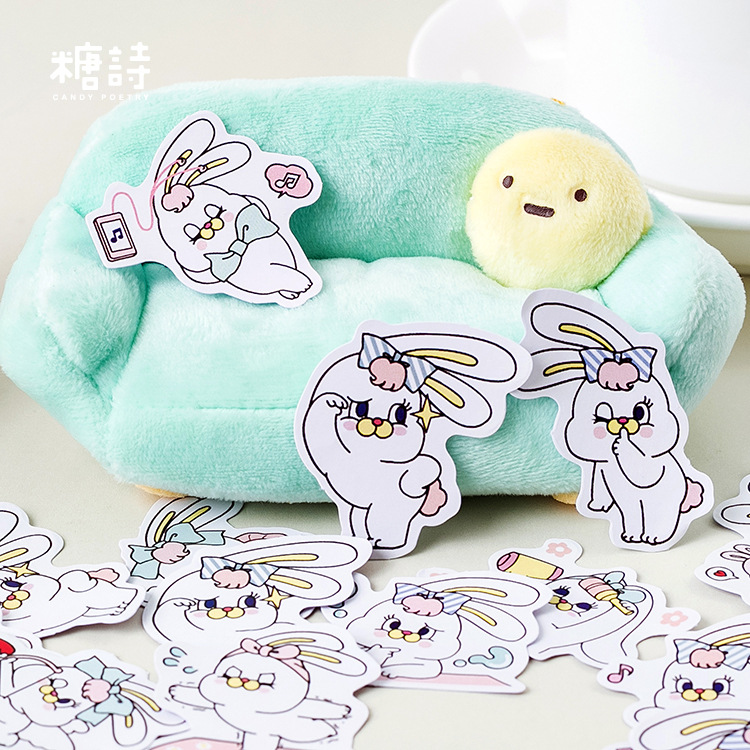 45pcs/pack Princess Rabbit Decorative Stickers Scrapbooking Stick Label Diary Journal Stickers Stationery Album Stickers