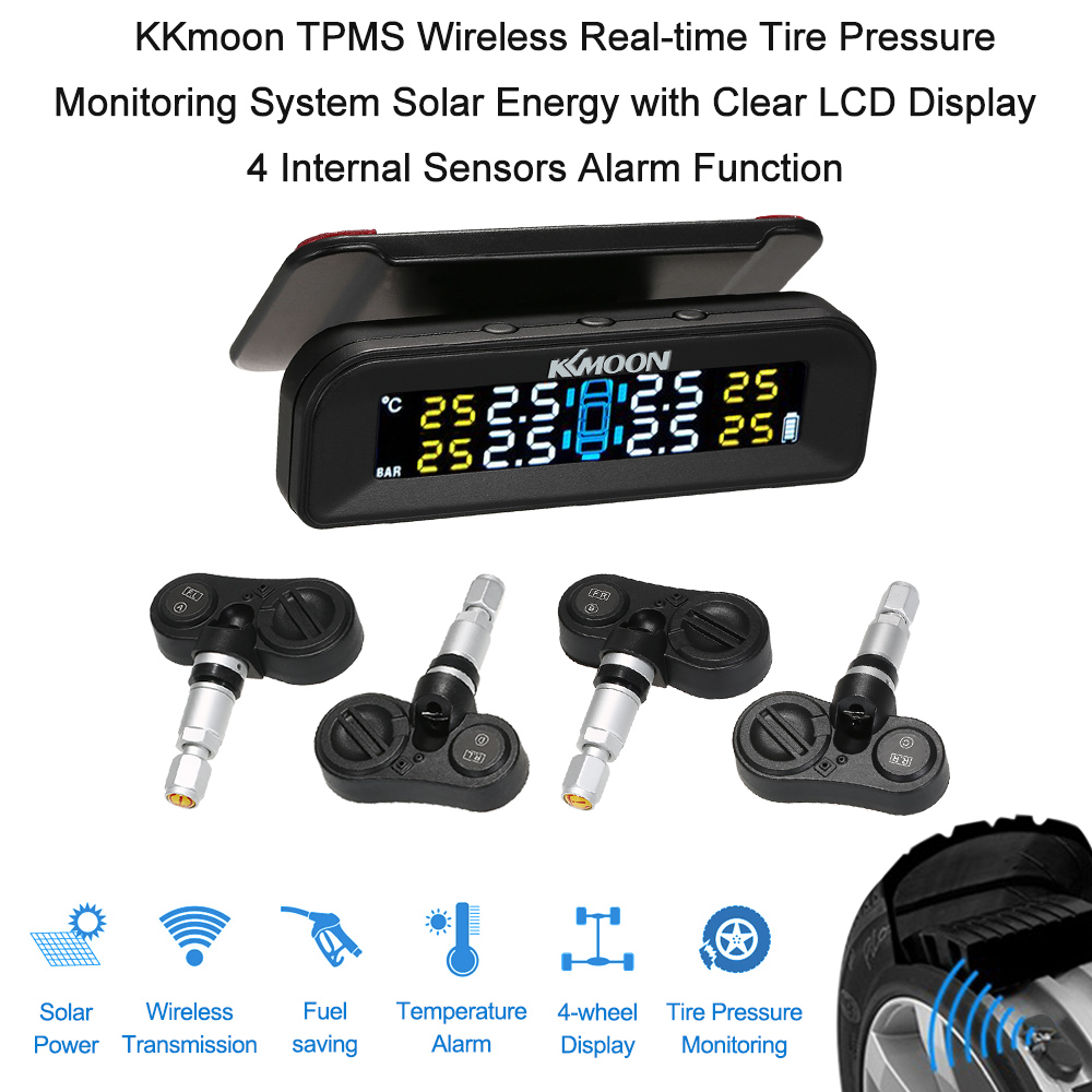 KKmoon TPMS Wireless Real-time Tire Pressure Monitoring System Solar Energy with Clear LCD Display 4 Internal Sensors Alarm