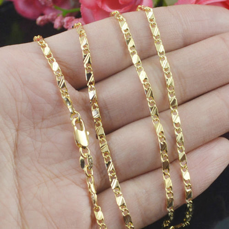 """10PCS 16-18-20-22-24-26-28-30/"""" 18K Yellow Gold Filled Flat Curb Chain Necklaces"""