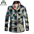 AFS JEEP Brand Clothing Рубашка 100% Хлопок Плед Мужчины Рубашка Плюс Размер XXXXL Сорочку Homme Camisa Camisa Masculina Рубашки #1592